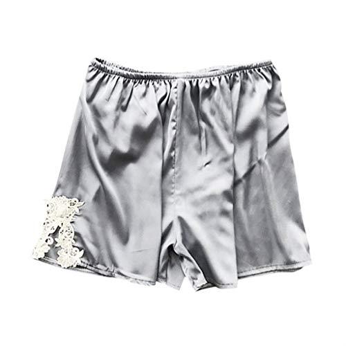 Toamen 2019 Nuovi Pantaloncini di Pizzo Sonno Pantaloni di Seta Colore Solido Pantaloni da Notte Babydoll da Notte per Donna(Grigio,L)