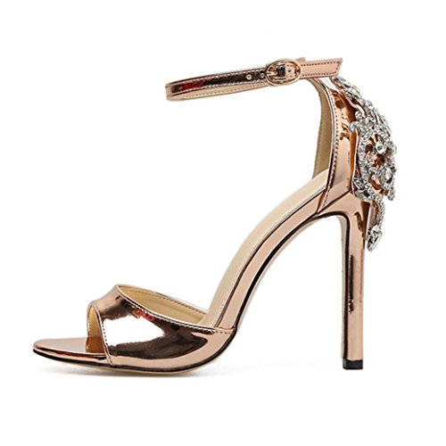 UFACE Bankett Frauensandalengold des GroßEn Diamanten Hohen Absatzes Summer Mode Luxus Diamant High Heel Damen Sandalen Party Hochzeit Heels (40, Golden) (Damen-lauf-spikes)