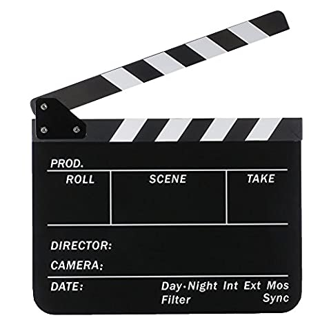 Clapper Board, CAM-ULATA Clapperboard Director Action Sign Prop Acrylic Plastic Dry Erase Film Movie Clapboard Slateboard Cut Action Scene Clapper Board Slate ( Black Clapboard and White / Black Stick