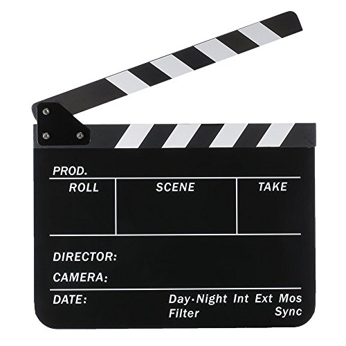 Cam-ulata Acrylic Plastic 10 x 12 inch/25 x 30 cm Dry Erase Director' s film movie Clap Board Cut Action Scene Clapper Board Slate (White Clap Board and White/Black stick), Black Clapboard and White/Black