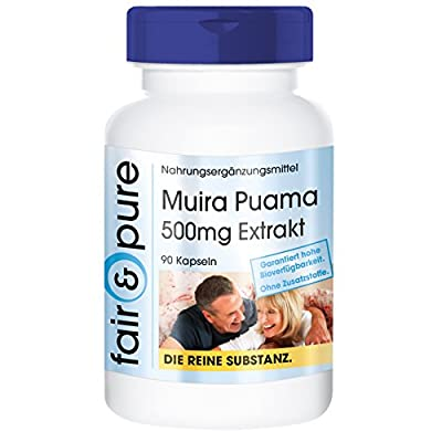 Muira Puama 500mg - 10:1 Extract from 5g Potency Wood - Pure Form - No Additives or Excipients - 90 Vegetarian Capsules from fair & pure