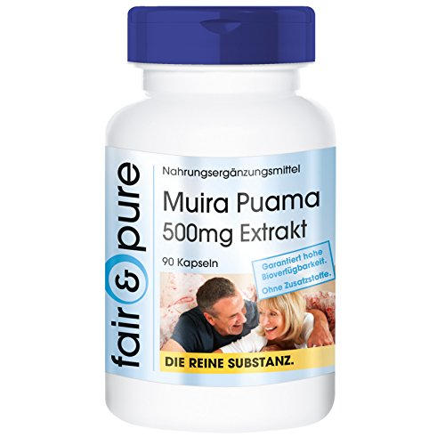 Muira Puama 500mg - 10:1 Extract from 5g Potency Wood - Pure Form - No Additives or Excipients - 90 Vegetarian Capsules Test