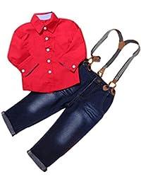 2PCS Bebé Rojo Cuadros guapo manga larga camiseta +corsés vaqueros Jeans pantalones ropa Conjunto,Yannerr niña niño primavera Verano tejana bordada Denim top Jersey mono traje