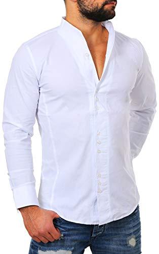 Carisma Herren Uni langarm Stehkragen Hemd slimfit tailliert figurbetont Party Club Look Optik Freizeit Casual einfarbig Basic , Grösse:XL;Farbe:Weiß