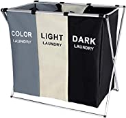 Laundry Hamper Clothes Sorter Washing Storage Bin JOGAMS Foldable 3 Sections Basket with Aluminum Frame Dirty