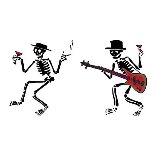 Cosanter Temporäre Tätowierung Wassertransferdruck Aufkleber Halloween Make-Up Party Streich Requisiten (Schwarzes Skelett-Muster) (Makeup Diy Halloween Skelett)