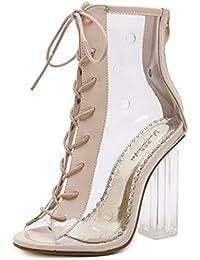 Coolcept Mujer Moda Gladiator Strappy Bootie Strappy Sandalias Tacon De Aguja Peep Toe (35 EU, White)