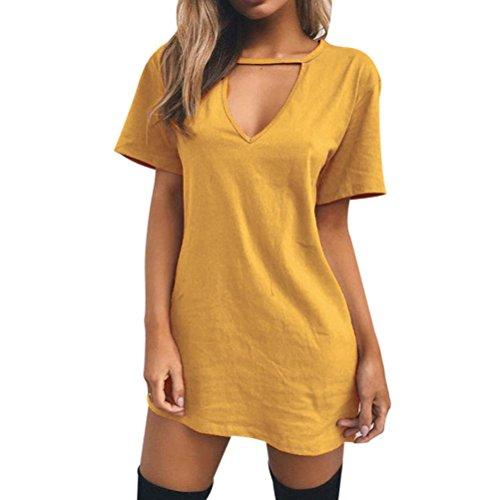 CLEARANCE! MEIbax ❤️Damen Halsband V-Ausschnitt Long Top T-Shirt beiläufige Partei Minikleid Bluse (Gelb, L) (Mantel Clearance Mädchen)
