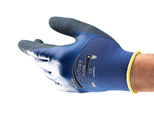 HyFlex Ansell 11-925 / 8 Öl abweisende Handschuhe, Mechanikschutz, Größe 8, Blau (12 Paar pro Beutel)