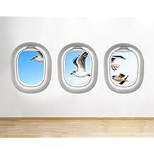 F879gabbiani uccello Seaside Sky sala finestra decalcomania da parete adesivi 3D Art Vinyl Room