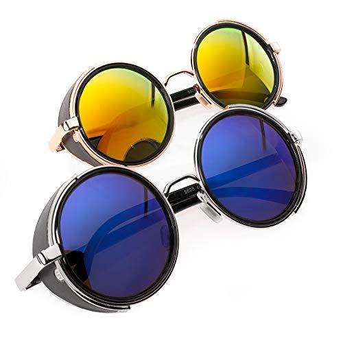 Romens Ltd 2er SET Sonnenbrille Cyber Herren Damen Spiegel Round Sunglasses Victorian Goth Steampunk (2 Pair Set 1)