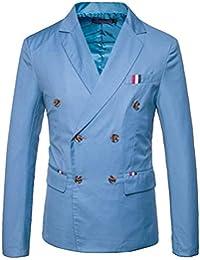 HX fashion Giacca da Uomo Blazer Doppiopetto Giacca da Uomo Smart Taglie  Comode Tuxedo Slim Fit Cappotto da Sposa Elegante Tuta Tuta… 5a9f9fe7565