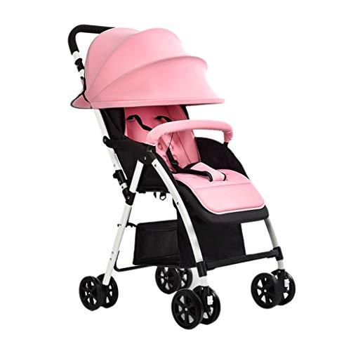 Einfache Kinderwagen können sitzen Lyche Kinderwagen Kinderwagen Ultra leichte Falten Kinderwagen Baby Regenschirm Kinderwagen Buggys (Color : Pink, Größe : 22.04 * 13.77 * 38.97inchs)
