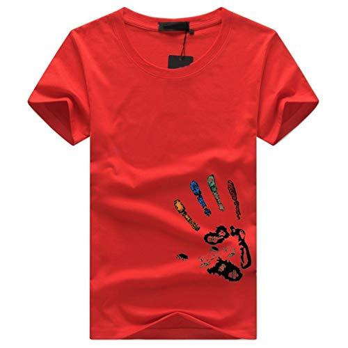 Herren T Shirt Kurzarm Sommer Top Baumwolle Einfarbige Herren Tshirt Bequem Business Shirts Bluse Sport Fitness Oberteile Party Strand Oberteil Outdoor Slim fit Hemden Tee(rot.XXXL) -