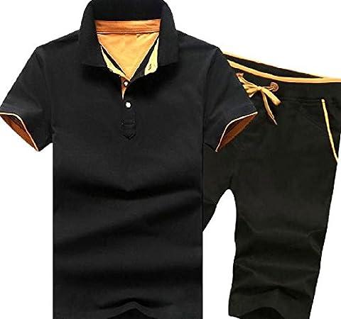 Tootlessly Men's Drawstring Soft Plush Short Sleeve Sweatsuit Set Pattern17