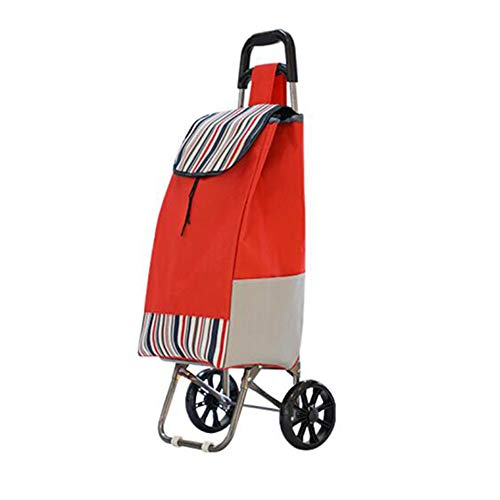 GLGWC Carrello della Spesa Carrello della Spesa Portatile Carrello Pieghevole Portatile, Carrello Porta valigie Carrello Piccolo Supporto in Tubo d\'Acciaio Rinforzato (Colore : Red)
