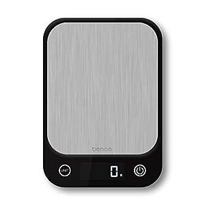benon Küchenwaage Digital, Edelstahl - Tara und Auto Off Funktion - 1g bis 5kg - inkl. AAA Batterien - LED Display g-kg-oz-lb oz-ml