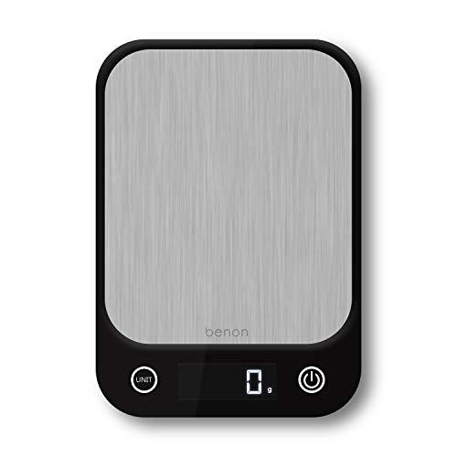 benon B2161 Digitale Küchenwaage, 1g bis 5kg - LED-Display, Edelstahl Auflage, Hochpräzisions-Sensoren
