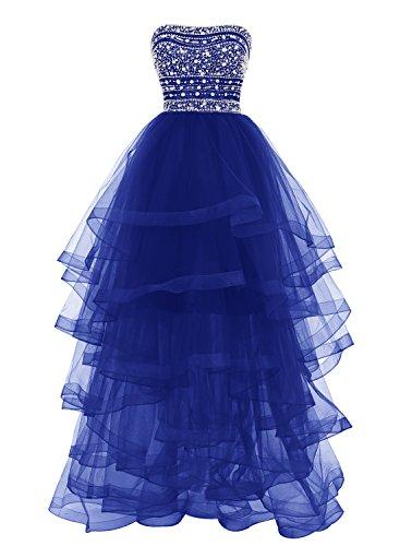 Bbonlinedress Robe de Soirée et de Bal Emperlée Sans bretelle et manches Longueur ras du sol en tulle multicouche Bleu Saphir