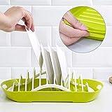 2 in 1 Küchenabtropfgestell Doppelschicht-Obstablagebehälter Kunststoff Wasserfilter Lagerregal für Schüssel Essstäbchen Untertasse