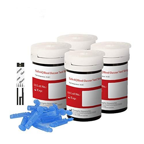 sinocare Blutzuckerteststreifen/Teststreifen x 100 & schmerzfreie Lanzetten x 100 (Für Safe-AQ Blutzucker-Testkit)