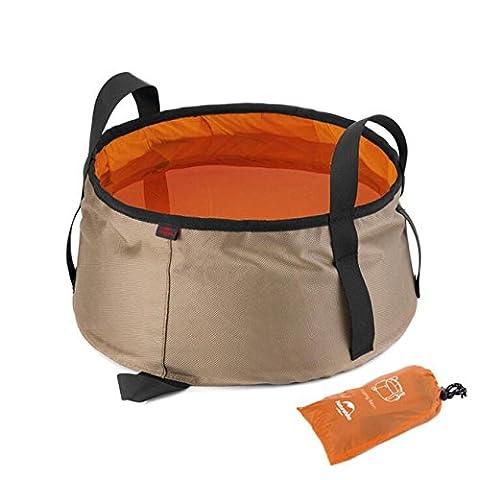 NH Folding Lavabo Voyage extérieur Seau pliant Voyage Portable bassin pédiluve pédiluve peut être chargé d'eau chaude , khaki with orange