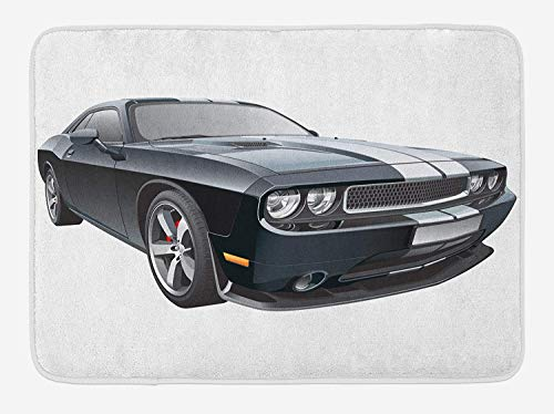 KAKICSA Cars Bath Mat, Black Modern Pony Car with White Racing Stripes Coupe Sports Dragster Print, Plush Bathroom Decor Mat with Non Slip Backing, Black Grey White,19.6X31.4 inch Blush Coupe