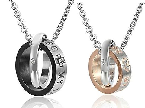 Gnzoe Schmuck, Edelstahl Doppelt Ring Doppelt Farbe Schwarz und Rose Gold Halskette für Paare