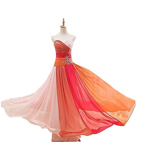 Aiyana Chiffon langes A-Linie Herz-Auschnitt Ab-Schulter Abendkleid Elegantes Peacock Brautjungfernkleid Orange