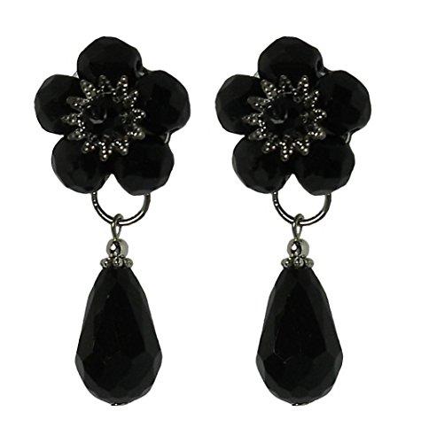 TAMU 1 BLACK - Orecchini clip diametro cm. 2, in cristallo Nero e goccia pendente, nickel free, lunghezza totale cm. 4,5