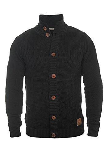 !Solid Trey Herren Strickjacke Cardigan Feinstrick Mit Stehkragen und Knopfleiste, Größe:L, Farbe:Black (9000)