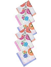 Krystle Womens|Girls Vintage Multi Floral Wedding Party Cotton Handkerchiefs(pack of 6)