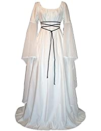 Mujer Mangas Largas Vestido Medieval De Señora Maxi Vestido Renacimiento Gótico Vestido ...
