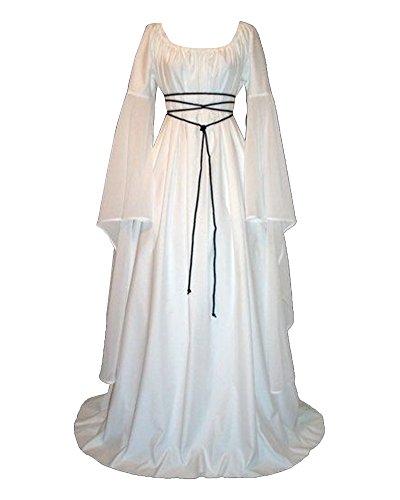 Damen Kleid Maxikleid Retro Boho Kleid Rundhalskleider Halloween Kostüm Langarm Kleid Renaissance Gotisch Kleider Weiß L
