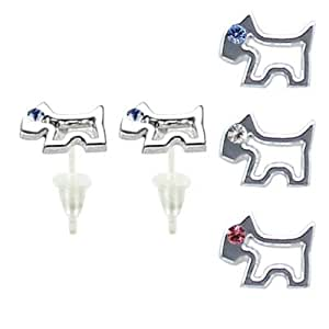 Dog stud earrings with swarovski crystals - hypo allergic UPVC posts - white gold plated so looks like real - you get a set of 3 - easy to wear, suitable for everyday wear