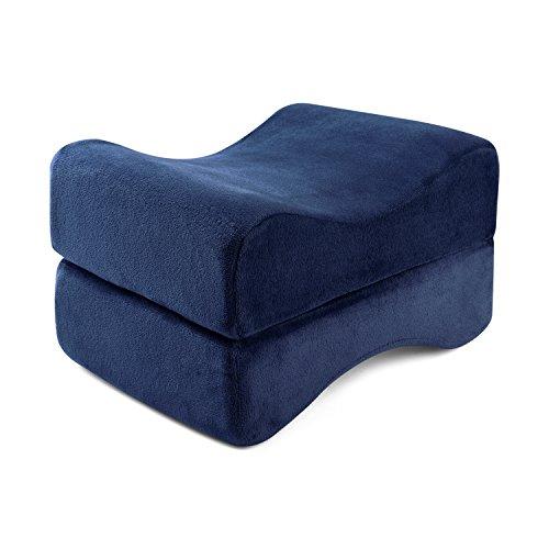 Hankey Cuscino Ortopedico per Gambe in Memory Foam | Cuscino Ergonomico per Ginocchia, Anche, Riposo delle Gambe in Gravidanza | Cuscino per Dormire su Fianco Rivestito in Velluto Lavabile Blu Scuro