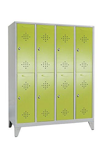 Garderobenschrank unterteilt mit 4 Abteilen Grüne Linie von Spindmax