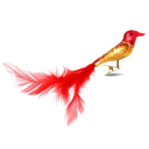 SIKORA Christbaumschmuck Glas Ornament / CLIP VOGEL mit Federn rot gold - L:10cm (Gold-glas Ornament)