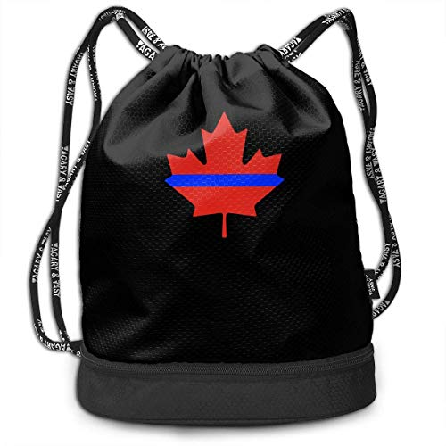Dünne Blue Line Canada Maple Kordelzug Tasche für Herren und Damen, 100% Polyester Original Rucksack