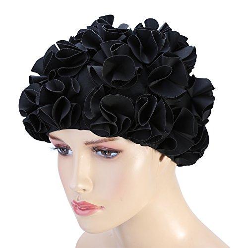 Vgeby cappello fiore da nuoto delle donne cap floral petal retro style cappello da bagno capelli lunghi ( colore : nero )