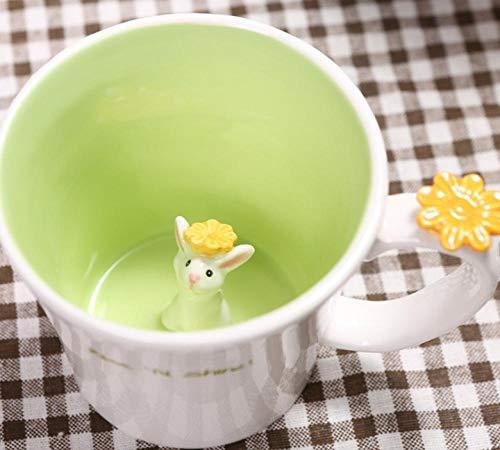 MugDisne qecdp* Teetassen Niedliche Tier Tasse kreativen Guten Morgen Kaninchen Becher große Kapazität Kaffeetasse Guten Morgen Kaninchen Sprießen Tasse 550ml