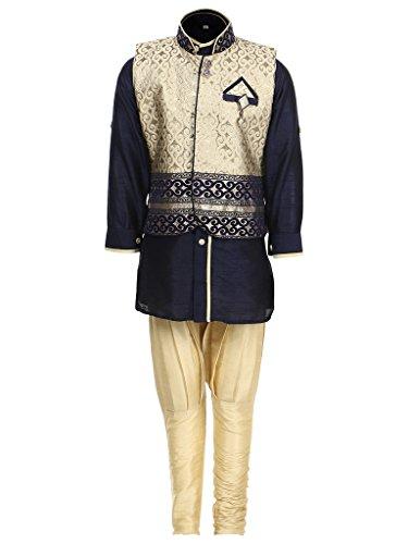AJ Dezines Kids Kurta Pyjama Waistcoat Set for Baby Boys (636_BLUE_1)