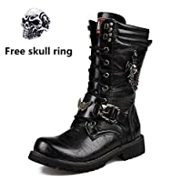 Mens Martin Boot British Fashion Genuine Leather Waterproof High Boot Army Gothic Skull Punk Motorcycle Steampunk Shoes Motorcycle Western Cowboy Boots Uniform Boots