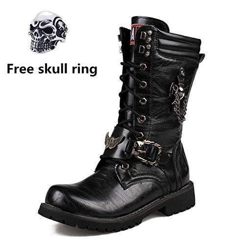 Mens Martin Boot British Fashion Genuine Leather Impermeabile Alto Boot Army Gothic Skull Punk Moto Steampunk Scarpe da Moto Western Stivali da Cowboy Stivali Uniformi,41
