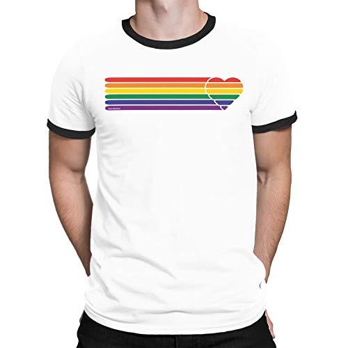 Gay Pride T-Shirt - Retro Heart Strip - Unisex Herren Damen LGBT 2019, White/Black Trim, L Manchester Trim