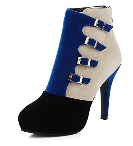 VogueZone009 Damen Rund Zehe Knöchel Hohe Hoher Absatz Gemischte Farbe Stiefel mit Schnalle, Blau, 35