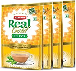 Real Gold Select Tea, 1 Kg (Pack of 4, 250 X 4) Premium Quality Tea with Darjeeling Long Leaves.