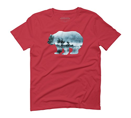 Misty Waterscape Bear - Turquoise Blue Men's Graphic T-Shirt - Design By Humans Red