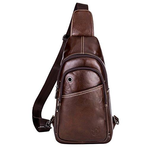 Imagen de leathario bolso bolsa  de pecho piel cuero para hombres bolso hombro con cuero compuesto la mejor opción para diario o trabajo.