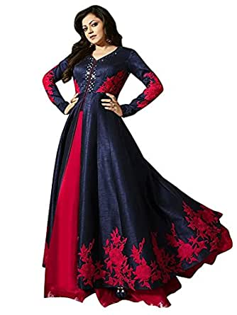 Dhruv Fab Women's Embroidered Anarkali Gown (Blue Color_Free Size)